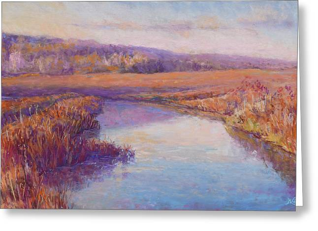 Fall Grass Pastels Greeting Cards - Autumn Marshland Greeting Card by Michael Camp