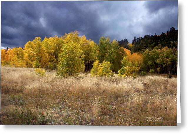 Autumn Landscape Mixed Media Greeting Cards - Autumn Meadow Greeting Card by Carol Cavalaris