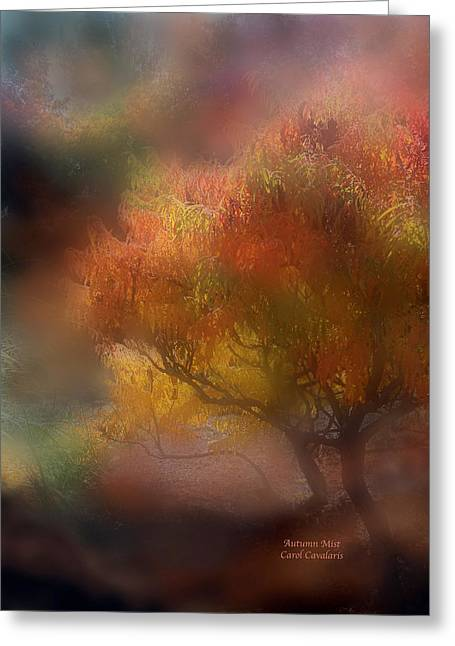 Fall Scenes Mixed Media Greeting Cards - Autumn Mist Greeting Card by Carol Cavalaris