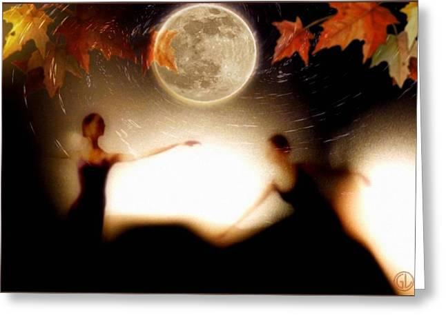 Ballet Dancers Digital Greeting Cards - Autumn moon dance Greeting Card by Gun Legler