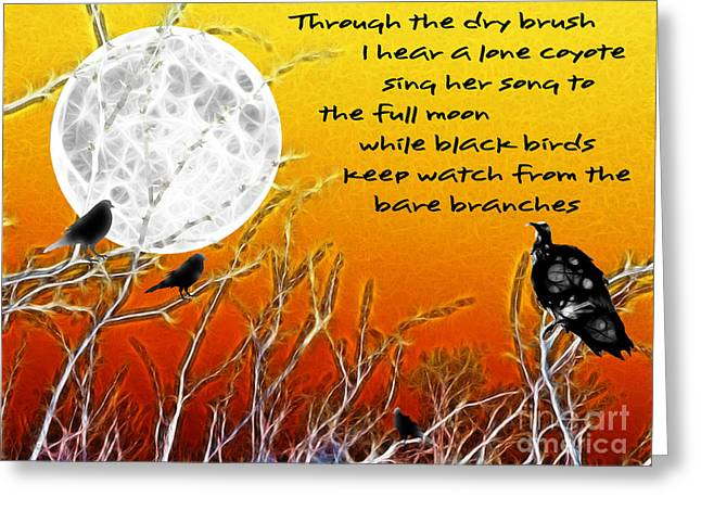 Creepy Digital Greeting Cards - Autumn Moon Greeting Card by Methune Hively
