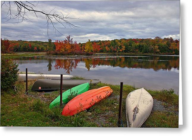 Promised Land Greeting Cards - Autumn Mooring Greeting Card by David Rucker