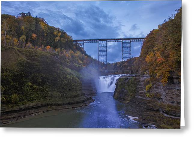 Autumn Prints Photographs Greeting Cards - Autumn Morning At Upper Falls Greeting Card by Rick Berk