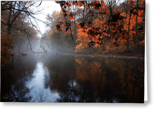 Stream Digital Greeting Cards - Autumn Morning by Wissahickon Creek Greeting Card by Bill Cannon