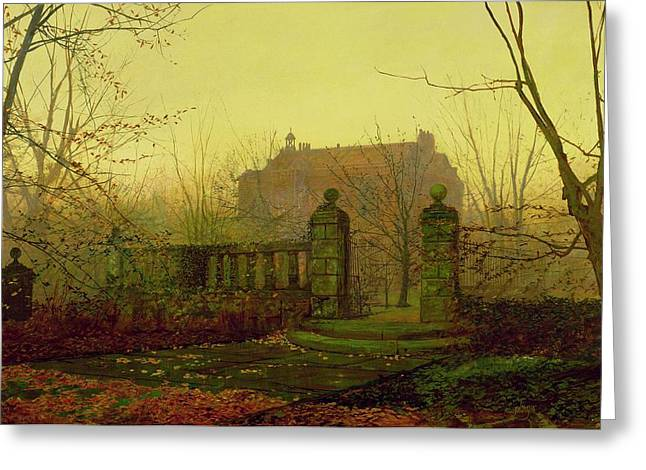 Golden Gate Paintings Greeting Cards - Autumn Morning Greeting Card by John Atkinson Grimshaw