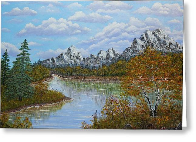 Landscape With Mountains Greeting Cards - Autumn Mountains Lake Landscape Greeting Card by Georgeta  Blanaru