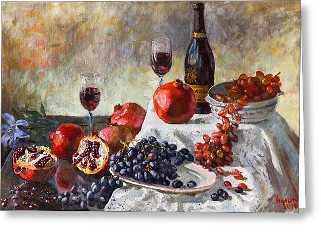 Glass Of Wine Paintings Greeting Cards - Autumn n a Flower Greeting Card by Ylli Haruni