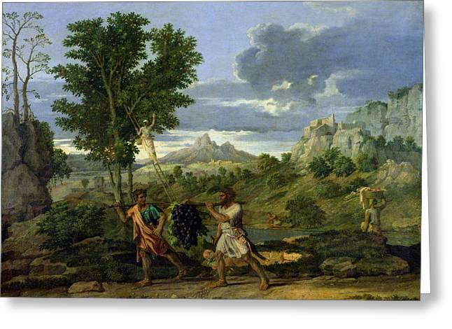 Vine Grapes Greeting Cards - Autumn Greeting Card by Nicolas Poussin