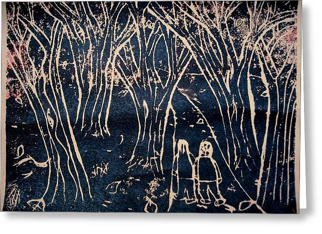 Linoleum Greeting Cards - Autumn Night Hike Greeting Card by Ward Smith