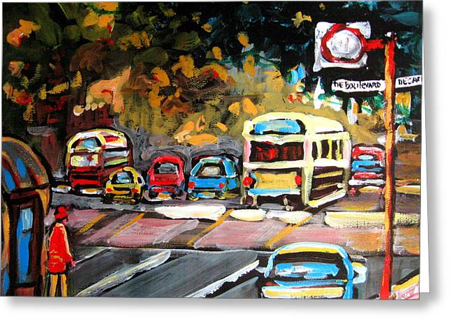 Montreal Pizza Places Greeting Cards - Autumn On The Boulevard Greeting Card by Carole Spandau