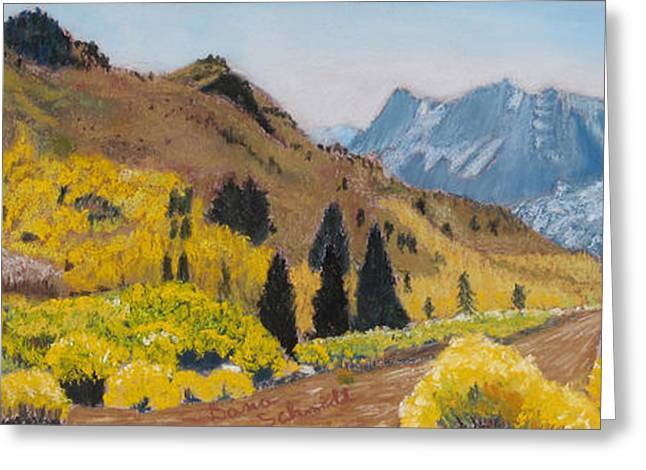 Road Travel Pastels Greeting Cards - Autumn on the Road Less Traveled Greeting Card by Dana Schmidt
