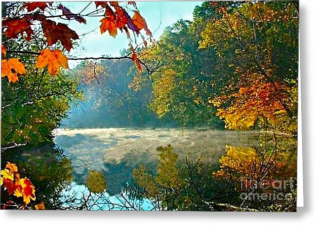 Fall Scenes Greeting Cards - Autumn on the White River I Greeting Card by Julie Dant