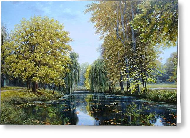 Autumn Leaf On Water Paintings Greeting Cards - Autumn Park Greeting Card by Oleg Bylgakov