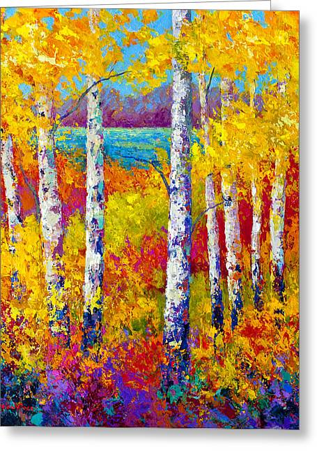 Birch Lake Greeting Cards - Autumn Patchwork Greeting Card by Marion Rose
