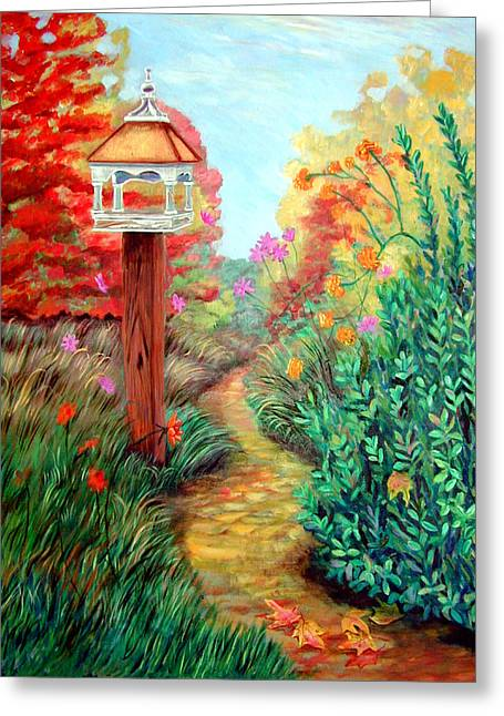 Birdhouses Greeting Cards - Autumn Path Greeting Card by Lyn Cook