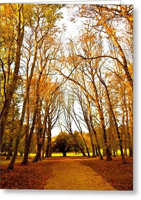 Fall Grass Mixed Media Greeting Cards - Autumn path Greeting Card by Svetlana Sewell