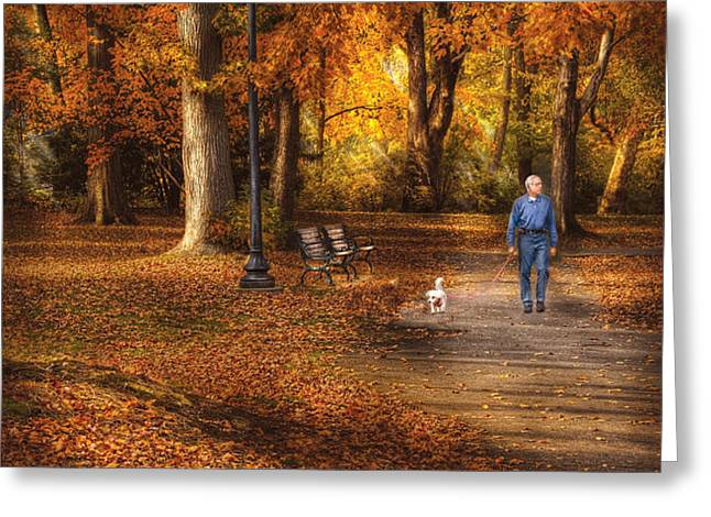 Autumn - People - A walk in the park Greeting Card by Mike Savad