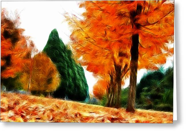 Fall Photos Mixed Media Greeting Cards - Autumn Perspective Greeting Card by Kami McKeon