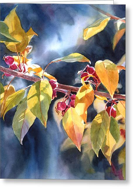 Yellow Leaves Paintings Greeting Cards - Autumn Plums Greeting Card by Sharon Freeman