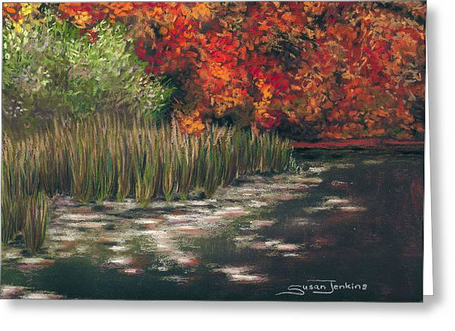 Lilly Pads Greeting Cards - Autumn Pond Greeting Card by Susan Jenkins