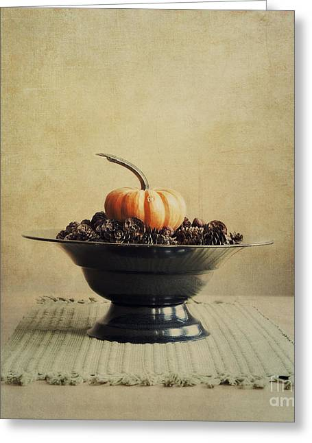 Orange Pumpkin Greeting Cards - Autumn Greeting Card by Priska Wettstein