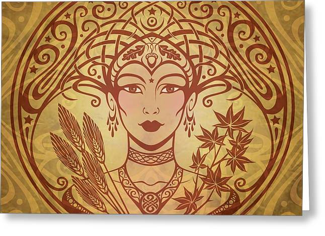 Golds Digital Art Greeting Cards - Autumn Queen Greeting Card by Cristina McAllister