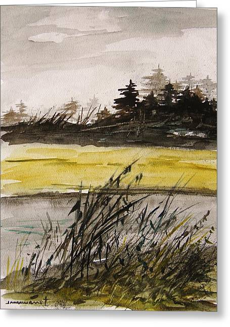 Fall Scenes Drawings Greeting Cards - Autumn Rain Greeting Card by John  Williams