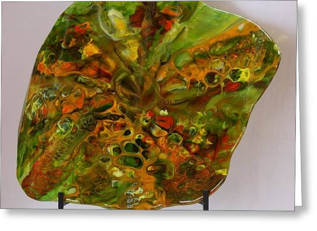 Sculpture Glass Art Greeting Cards - Autumn Reflection Greeting Card by Eleanor Brownridge