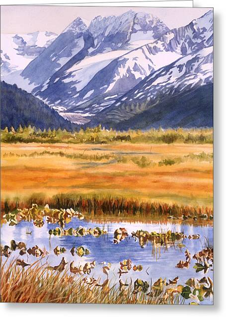 Snow Capped Mountains Greeting Cards - Autumn Reflections Greeting Card by Sharon Freeman
