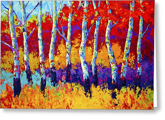 Birch Trees Greeting Cards - Autumn Riches Greeting Card by Marion Rose
