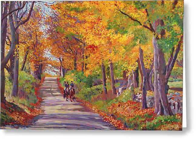 New England Landscape Greeting Cards - Autumn Ride Greeting Card by David Lloyd Glover
