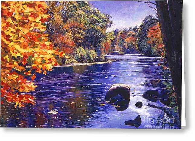 Nature Scene Paintings Greeting Cards - Autumn River Greeting Card by David Lloyd Glover