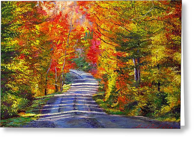 Autumn Landscape Paintings Greeting Cards - Autumn Roads Greeting Card by David Lloyd Glover