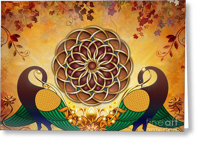 Whimsical. Greeting Cards - Autumn Serenade - Mandala Of The Two Peacocks Greeting Card by Bedros Awak