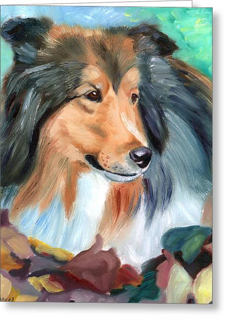 Shetland Dog Greeting Cards - Autumn - Shetland Sheepdog Greeting Card by Lyn Cook