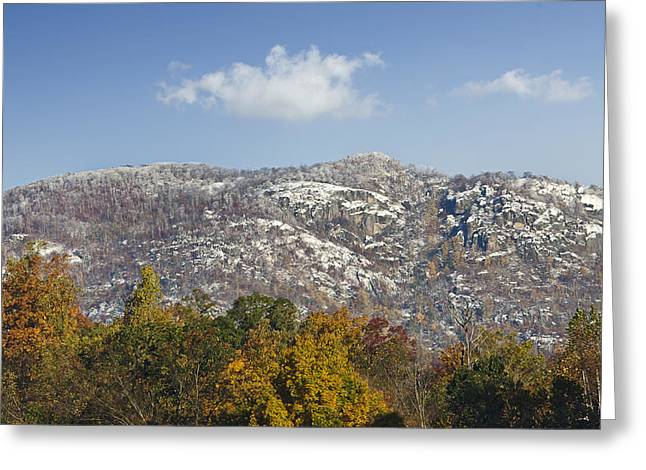 Ragged Peaks Greeting Cards - Autumn Snow on Old Rag Mountain - Virginia Greeting Card by Brendan Reals