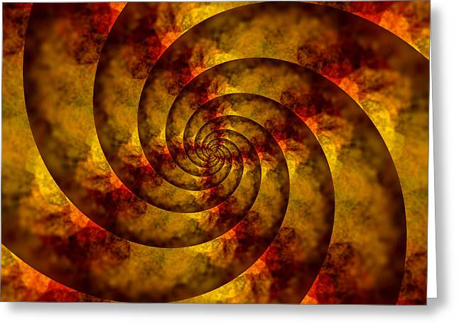 Golden Brown Greeting Cards - Autumn Spiral Greeting Card by Bonnie Bruno