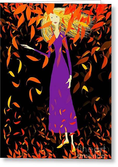 Flowing Blonde Hair Greeting Cards - Autumn Spirit Greeting Card by Barbara Moignard