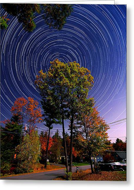 Illuminates Greeting Cards - Autumn Star Trails in New Hampshire Greeting Card by Larry Landolfi