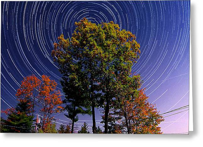 Autumn Star Trails in New Hampshire Greeting Card by Larry Landolfi