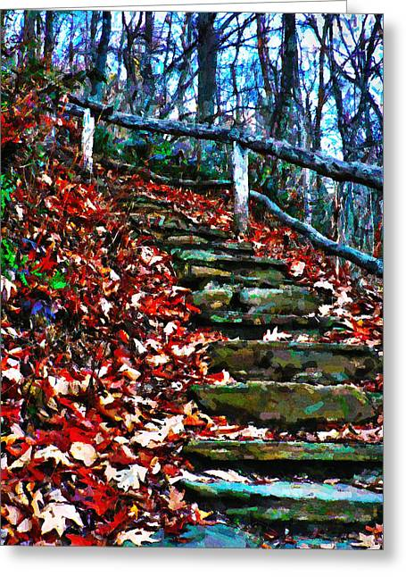 Elm Digital Art Greeting Cards - Autumn Steps of Stone Greeting Card by Jeff Stein