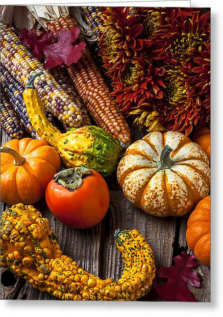 Gourds Greeting Cards - Autumn still life colors Greeting Card by Garry Gay