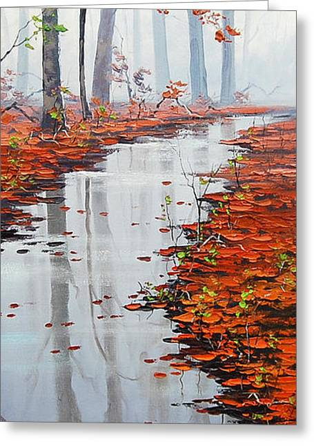 Fall Trees Greeting Cards - Autumn Stream Greeting Card by Graham Gercken