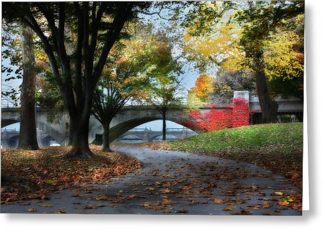 """""""riverfront Park"""" Greeting Cards - Autumn Stroll Greeting Card by Lori Deiter"""