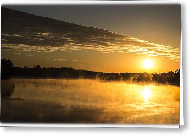 Tree Leaf On Water Greeting Cards - Autumn Sunrise Greeting Card by Barry Jones