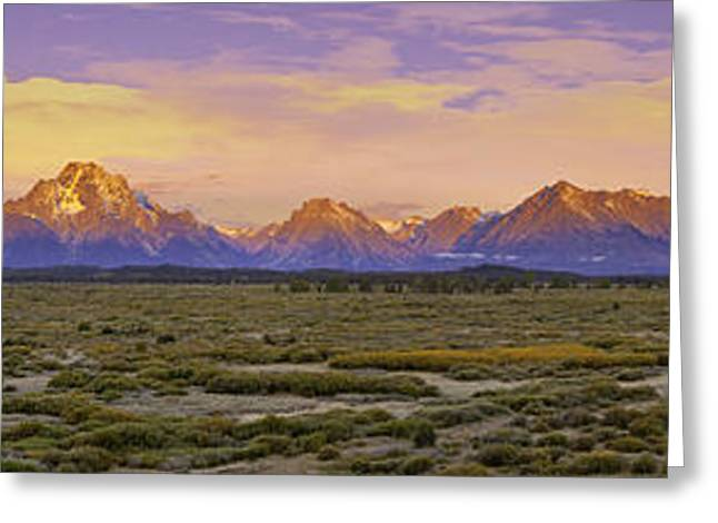Willow Lake Greeting Cards - Autumn Sunrise over the Tetons Greeting Card by Fred J Lord