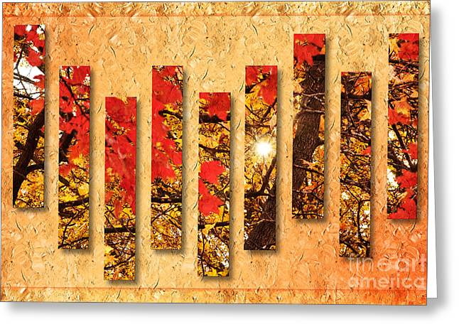 Shiny Mixed Media Greeting Cards - Autumn Sunrise Painterly Abstract Greeting Card by Andee Design