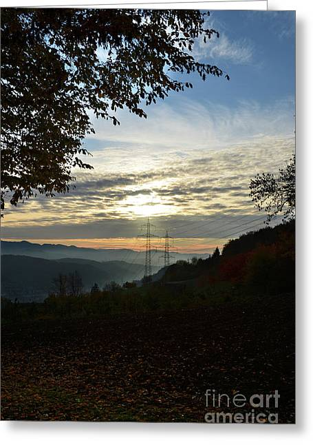 Autumn Sheets Greeting Cards - Autumn Sunset 3 Greeting Card by Bruno Santoro