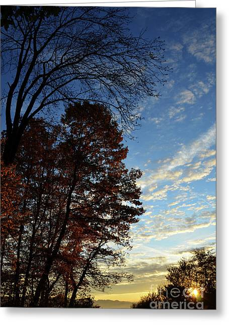 Photos Of Autumn Greeting Cards - Autumn Sunset Greeting Card by Bruno Santoro