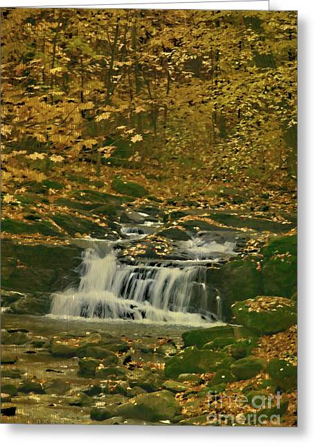 Brook Mixed Media Greeting Cards - Autumn Surrounded In Color Greeting Card by Deborah Benoit